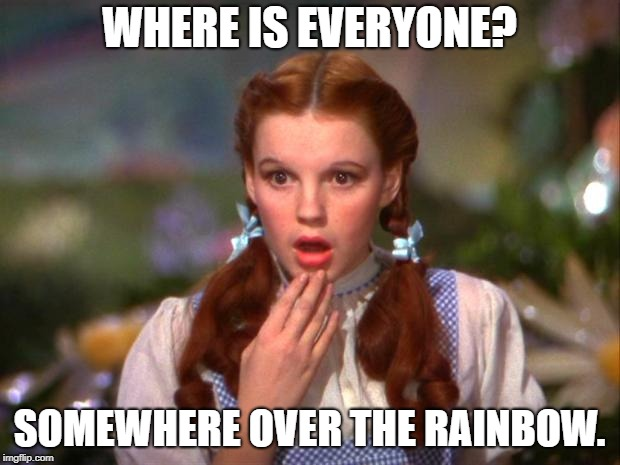 WHERE IS EVERYONE? SOMEWHERE OVER THE RAINBOW. | image tagged in dorothy | made w/ Imgflip meme maker