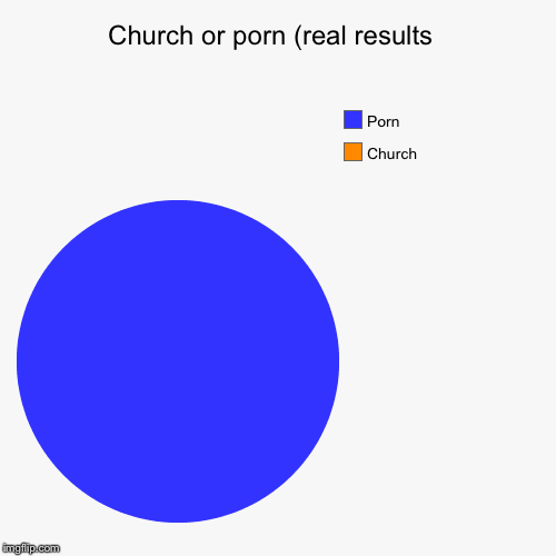 Church or porn (real results  | Church, Porn | image tagged in funny,pie charts | made w/ Imgflip pie chart maker