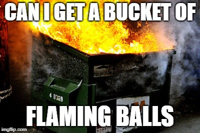 dumpster | CAN I GET A BUCKET OF FLAMING BALLS | image tagged in dumpster | made w/ Imgflip meme maker