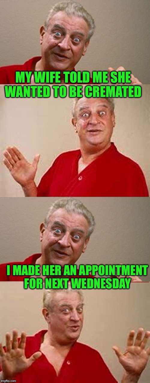 I'm going to miss her... | MY WIFE TOLD ME SHE WANTED TO BE CREMATED I MADE HER AN APPOINTMENT FOR NEXT WEDNESDAY | image tagged in bad pun rodney dangerfield,lol,lynch1979 | made w/ Imgflip meme maker