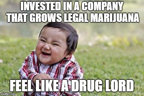 Evil Toddler Meme | INVESTED IN A COMPANY THAT GROWS LEGAL MARIJUANA FEEL LIKE A DRUG LORD | image tagged in memes,evil toddler | made w/ Imgflip meme maker