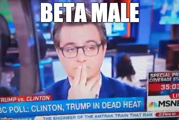 BETA MALE | image tagged in chris hayes shhh | made w/ Imgflip meme maker