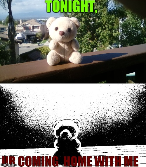 Dark, Misleading Teddy Bear template | TONIGHT, UR COMING  HOME WITH ME | image tagged in dark humor,spooky,bear,new template | made w/ Imgflip meme maker