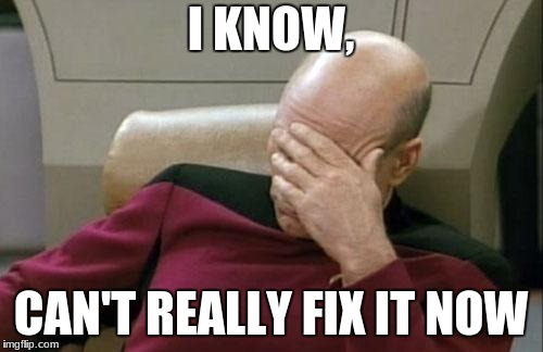 Captain Picard Facepalm Meme | I KNOW, CAN'T REALLY FIX IT NOW | image tagged in memes,captain picard facepalm | made w/ Imgflip meme maker