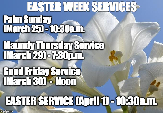 EASTER WEEK SERVICES Palm Sunday                                                                  (March 25) - 10:30a.m. Maundy Thursday Ser | image tagged in easter lily | made w/ Imgflip meme maker