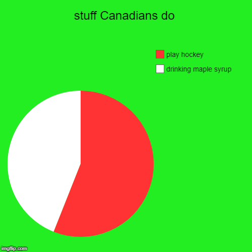 stuff Canadians do | drinking maple syrup, play hockey | image tagged in funny,pie charts | made w/ Imgflip pie chart maker