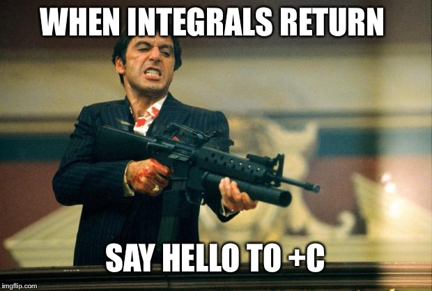 scarface meme | WHEN INTEGRALS RETURN SAY HELLO TO +C | image tagged in scarface meme | made w/ Imgflip meme maker