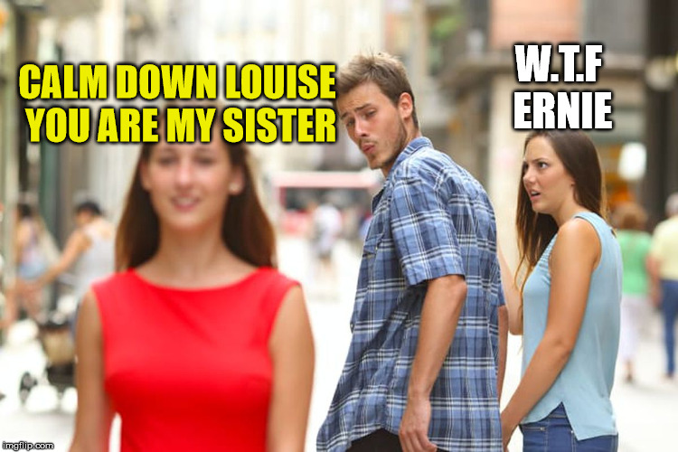 sibling rivalry | CALM DOWN LOUISE YOU ARE MY SISTER W.T.F ERNIE | image tagged in distracted boyfriend,family,sibling rivalry | made w/ Imgflip meme maker
