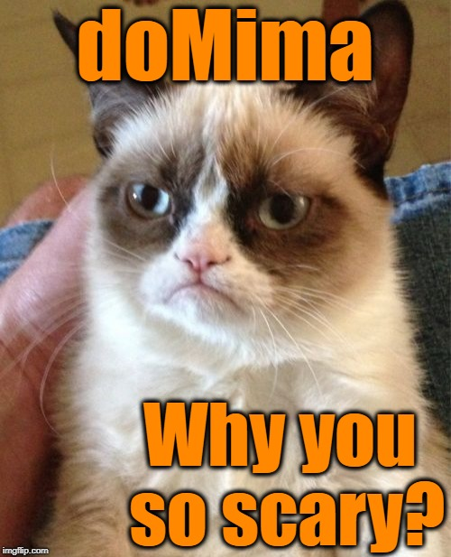 Grumpy Cat Meme | doMima Why you so scary? | image tagged in memes,grumpy cat | made w/ Imgflip meme maker