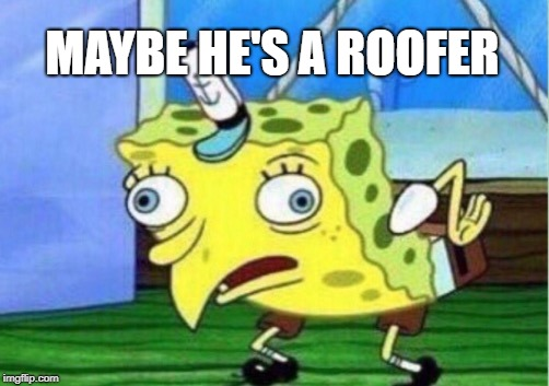 Mocking Spongebob Meme | MAYBE HE'S A ROOFER | image tagged in memes,mocking spongebob | made w/ Imgflip meme maker