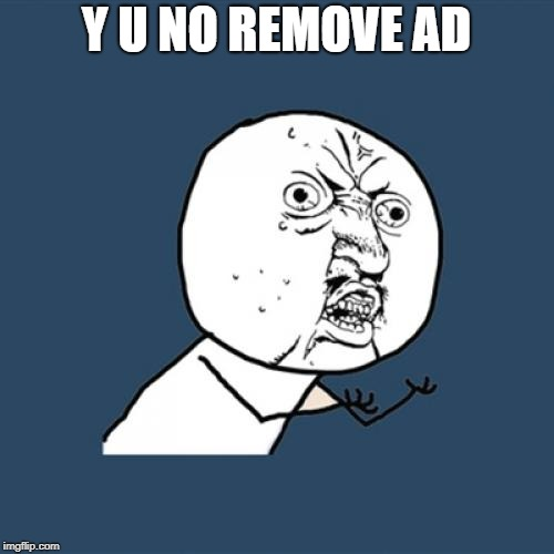 Y U No Meme | Y U NO REMOVE AD | image tagged in memes,y u no | made w/ Imgflip meme maker