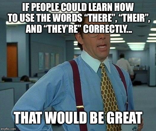 "That Would Be Great Meme | IF PEOPLE COULD LEARN HOW TO USE THE WORDS ""THERE"", ""THEIR"", AND ""THEY'RE"" CORRECTLY... THAT WOULD BE GREAT 