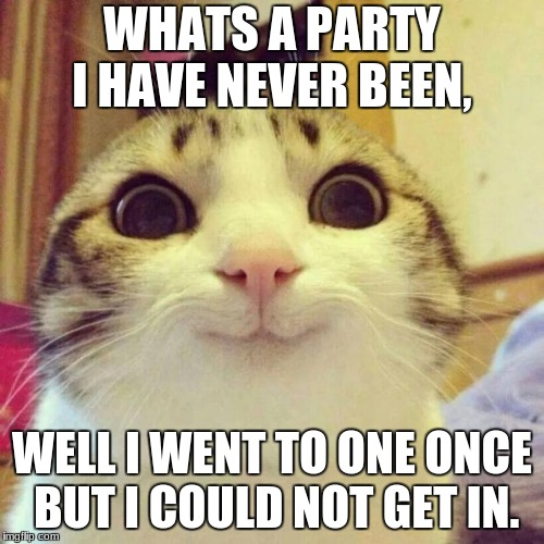 Smiling Cat Meme | WHATS A PARTY I HAVE NEVER BEEN, WELL I WENT TO ONE ONCE BUT I COULD NOT GET IN. | image tagged in memes,smiling cat | made w/ Imgflip meme maker