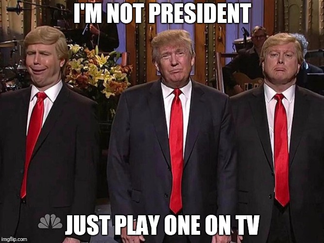 President TV | I'M NOT PRESIDENT JUST PLAY ONE ON TV | image tagged in president trump | made w/ Imgflip meme maker