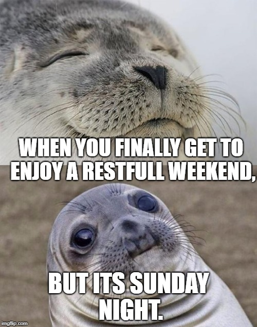 Short Satisfaction VS Truth Meme | WHEN YOU FINALLY GET TO ENJOY A RESTFULL WEEKEND, BUT ITS SUNDAY NIGHT. | image tagged in memes,short satisfaction vs truth | made w/ Imgflip meme maker