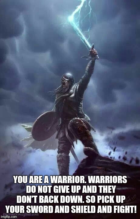 Viking warrior  | YOU ARE A WARRIOR. WARRIORS DO NOT GIVE UP AND THEY DON'T BACK DOWN. SO PICK UP YOUR SWORD AND SHIELD AND FIGHT! | image tagged in viking | made w/ Imgflip meme maker