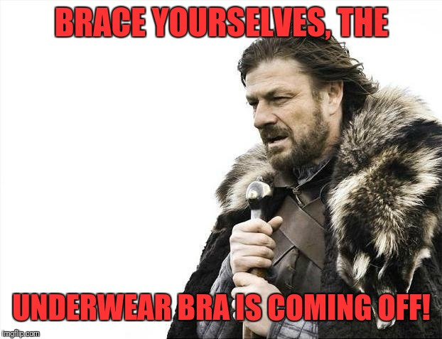 Brace Yourselves X is Coming Meme | BRACE YOURSELVES, THE UNDERWEAR BRA IS COMING OFF! | image tagged in memes,brace yourselves x is coming | made w/ Imgflip meme maker