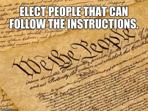 Constitution | ELECT PEOPLE THAT CAN FOLLOW THE INSTRUCTIONS. | image tagged in constitution | made w/ Imgflip meme maker
