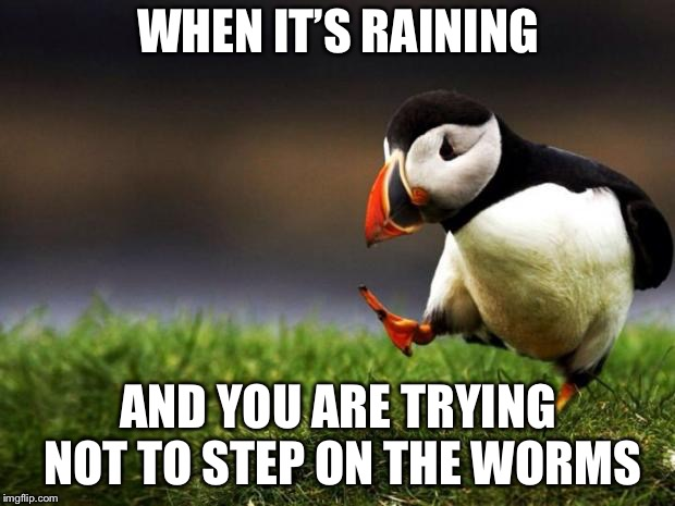 Unpopular Opinion Puffin Meme | WHEN IT'S RAINING AND YOU ARE TRYING NOT TO STEP ON THE WORMS | image tagged in memes,unpopular opinion puffin | made w/ Imgflip meme maker