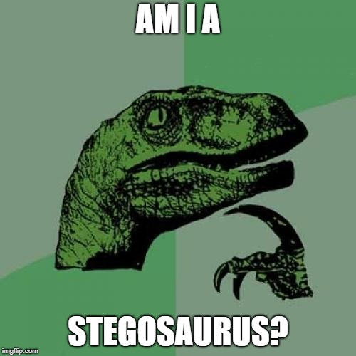 Philosoraptor Meme | AM I A STEGOSAURUS? | image tagged in memes,philosoraptor | made w/ Imgflip meme maker