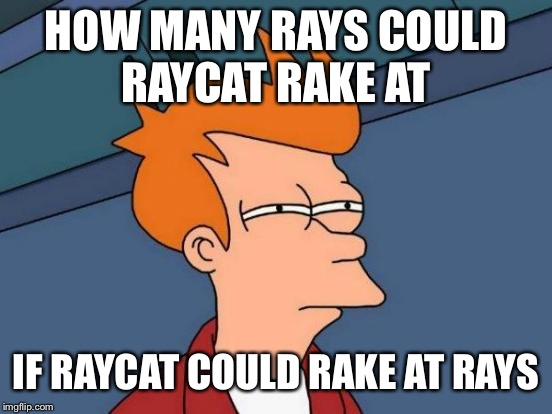 Futurama Fry Meme | HOW MANY RAYS COULD RAYCAT RAKE AT IF RAYCAT COULD RAKE AT RAYS | image tagged in memes,futurama fry | made w/ Imgflip meme maker