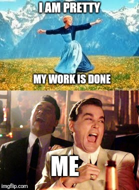 Just because you are pretty does not mean that you don't need good character,a personality, and work ethic. Real men need MORE. | I AM PRETTY MY WORK IS DONE ME | image tagged in lazy,pretty woman,pretty girl,hard work,housework | made w/ Imgflip meme maker