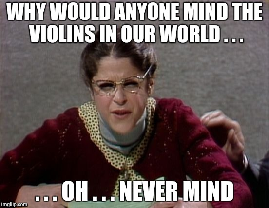Emily Litella | WHY WOULD ANYONE MIND THE VIOLINS IN OUR WORLD . . . . . . OH . . . NEVER MIND | image tagged in emily litella | made w/ Imgflip meme maker