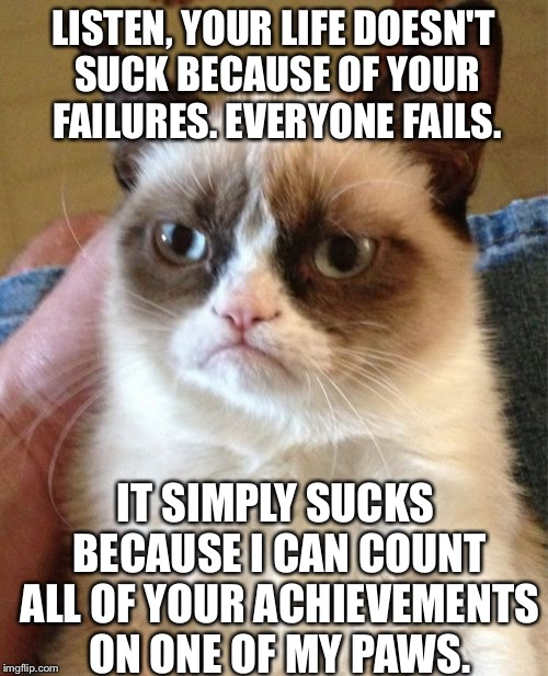 To: meirl. From: grumpy cat. | LISTEN, YOUR LIFE DOESN'T SUCK BECAUSE OF YOUR FAILURES. EVERYONE FAILS. IT SIMPLY SUCKS BECAUSE I CAN COUNT ALL OF YOUR ACHIEVEMENTS ON ONE | image tagged in memes,grumpy cat | made w/ Imgflip meme maker