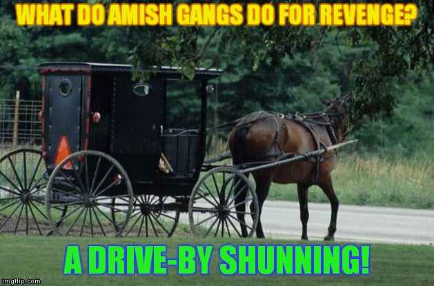 Clip clop clip, look other way, clip clop. | WHAT DO AMISH GANGS DO FOR REVENGE? A DRIVE-BY SHUNNING! | image tagged in amish,gangsta,revenge | made w/ Imgflip meme maker