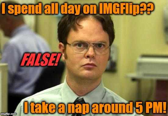 See? You don't know me as well as you thought! | I spend all day on IMGFlip?? I take a nap around 5 PM! FALSE! | image tagged in dwight | made w/ Imgflip meme maker