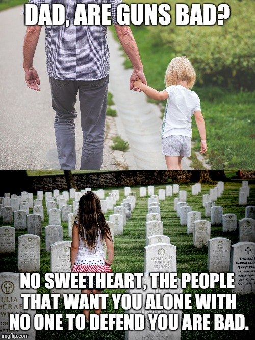 Defenseless or not | DAD, ARE GUNS BAD? NO SWEETHEART, THE PEOPLE THAT WANT YOU ALONE WITH NO ONE TO DEFEND YOU ARE BAD. | image tagged in self defense | made w/ Imgflip meme maker