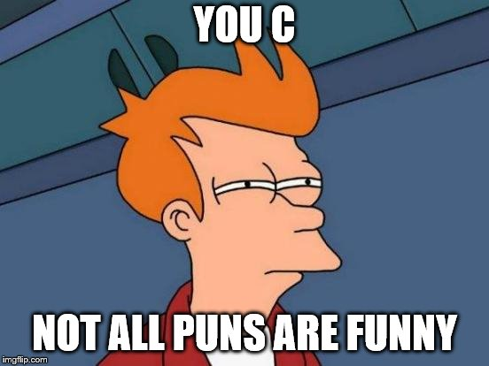 Futurama Fry Meme | YOU C NOT ALL PUNS ARE FUNNY | image tagged in memes,futurama fry | made w/ Imgflip meme maker