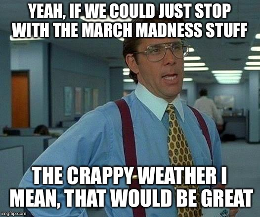 March weather has sucked  | YEAH, IF WE COULD JUST STOP WITH THE MARCH MADNESS STUFF THE CRAPPY WEATHER I MEAN, THAT WOULD BE GREAT | image tagged in memes,that would be great,march,weather | made w/ Imgflip meme maker