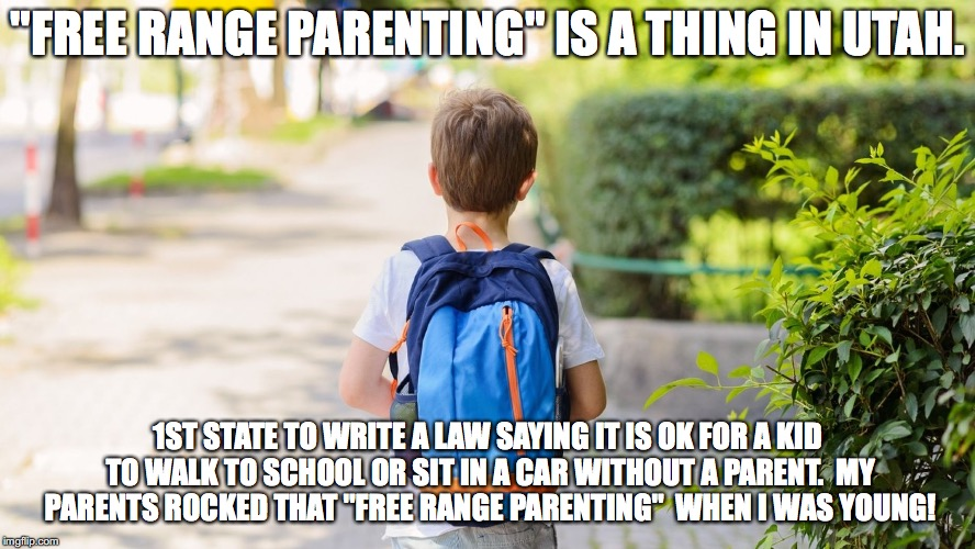 "Free range parenting  | ""FREE RANGE PARENTING"" IS A THING IN UTAH. 1ST STATE TO WRITE A LAW SAYING IT IS OK FOR A KID TO WALK TO SCHOOL OR SIT IN A CAR WITHOUT A PA 