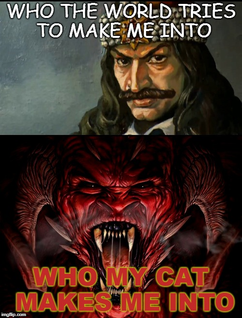Pets bring out the best in us... | WHO THE WORLD TRIES TO MAKE ME INTO WHO MY CAT MAKES ME INTO | image tagged in cats,evil cat,funny memes,the devil,vlad tepes,count dracula | made w/ Imgflip meme maker