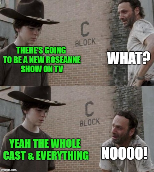 Roseanne Show | THERE'S GOING TO BE A NEW ROSEANNE SHOW ON TV WHAT? YEAH THE WHOLE CAST & EVERYTHING NOOOO! | image tagged in memes,rick and carl,roseanne,tv show | made w/ Imgflip meme maker