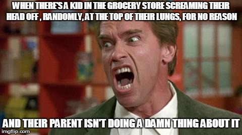 arnie shut up | WHEN THERE'S A KID IN THE GROCERY STORE SCREAMING THEIR HEAD OFF , RANDOMLY, AT THE TOP OF THEIR LUNGS, FOR NO REASON AND THEIR PARENT ISN'T | image tagged in arnie shut up | made w/ Imgflip meme maker