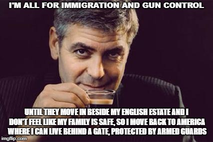George Clooney what else | I'M ALL FOR IMMIGRATION AND GUN CONTROL UNTIL THEY MOVE IN BESIDE MY ENGLISH ESTATE AND I DON'T FEEL LIKE MY FAMILY IS SAFE, SO I MOVE BACK  | image tagged in george clooney what else | made w/ Imgflip meme maker