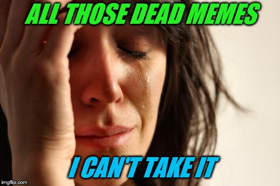 First World Problems Meme | ALL THOSE DEAD MEMES I CAN'T TAKE IT | image tagged in memes,first world problems | made w/ Imgflip meme maker