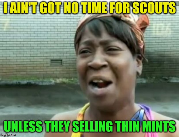 I AIN'T GOT NO TIME FOR SCOUTS UNLESS THEY SELLING THIN MINTS | made w/ Imgflip meme maker