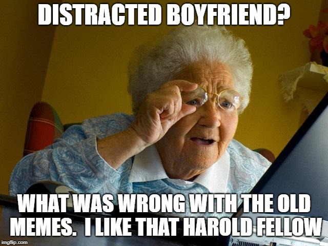 Grandma Finds The Internet Meme | DISTRACTED BOYFRIEND? WHAT WAS WRONG WITH THE OLD MEMES.  I LIKE THAT HAROLD FELLOW | image tagged in memes,grandma finds the internet | made w/ Imgflip meme maker