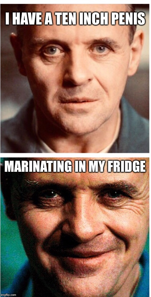 I want a guy who's honest... | I HAVE A TEN INCH P**IS MARINATING IN MY FRIDGE | image tagged in nsfw,penis jokes,hannibal lecter,meme,funny | made w/ Imgflip meme maker