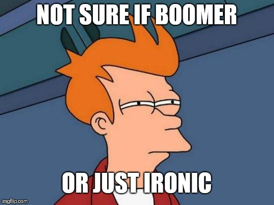 Me sometimes | NOT SURE IF BOOMER OR JUST IRONIC | image tagged in memes,futurama fry,boomer,ironic | made w/ Imgflip meme maker
