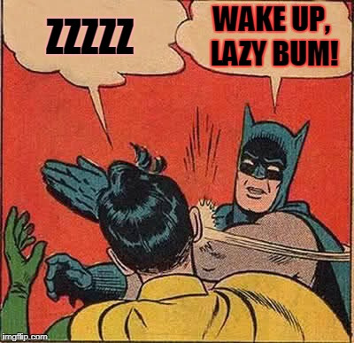 Batman Slapping Robin Meme | ZZZZZ WAKE UP, LAZY BUM! | image tagged in memes,batman slapping robin | made w/ Imgflip meme maker