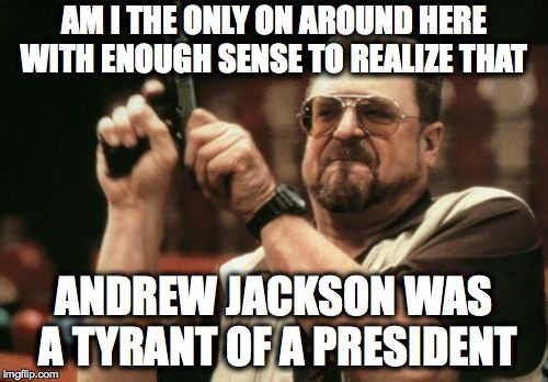 Am I The Only One Around Here Meme | AM I THE ONLY ON AROUND HERE WITH ENOUGH SENSE TO REALIZE THAT ANDREW JACKSON WAS A TYRANT OF A PRESIDENT | image tagged in memes,am i the only one around here | made w/ Imgflip meme maker