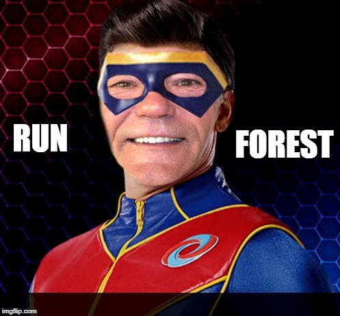 captain lewman | RUN FOREST | image tagged in captain lewman | made w/ Imgflip meme maker