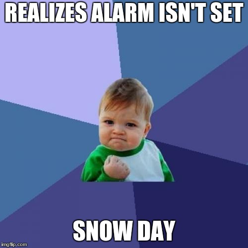 Success Kid Meme | REALIZES ALARM ISN'T SET SNOW DAY | image tagged in memes,success kid | made w/ Imgflip meme maker