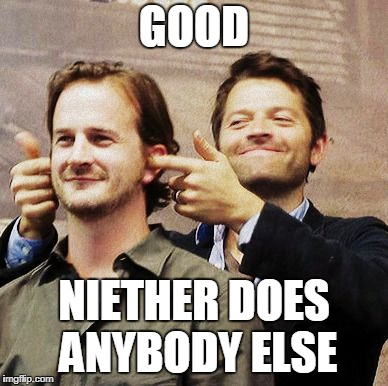 Richard Speight Jr and Misha Collins | GOOD NIETHER DOES ANYBODY ELSE | image tagged in richard speight jr and misha collins | made w/ Imgflip meme maker
