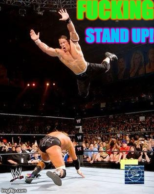 John Cena Going For Crossbody | F**KING STAND UP! | image tagged in wwe,john cena,triple h,wrestling,high risk | made w/ Imgflip meme maker
