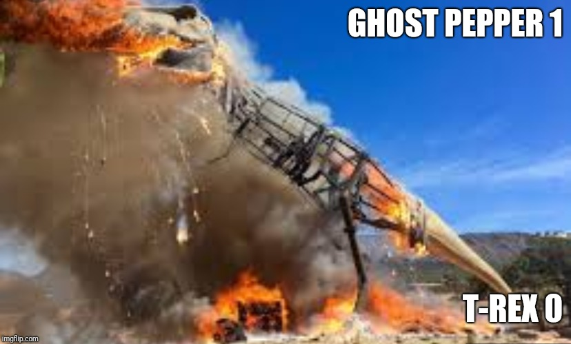 T-Rex Fail | GHOST PEPPER 1 T-REX 0 | image tagged in t-rex,ghost pepper,pepper,burn,epic fail,fire | made w/ Imgflip meme maker